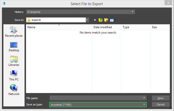 3ds Max export file selection dialog