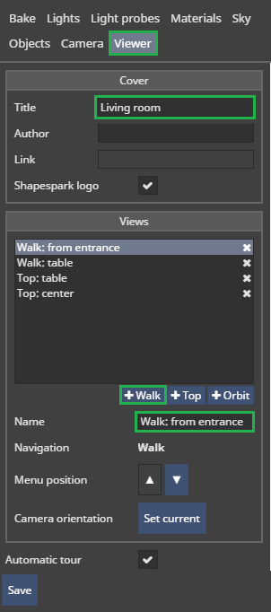 Viewer tab: adding predefined views